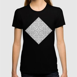 Monochrome White and Grey Textured Folk Art Doodle  T-shirt