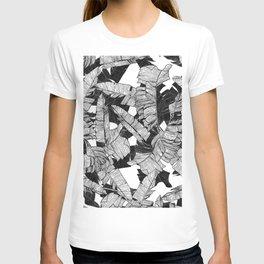 Modern Black and White Tropical Banana Leaves T-shirt