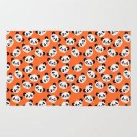 pandas Area & Throw Rugs featuring Happy Pandas by Sara Showalter