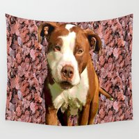 pitbull Wall Tapestries featuring Pitbull on Pink Background by Crayle Vanest