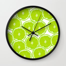 Summer Citrus Lime Slices Wall Clock