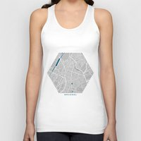 brussels Tank Tops featuring Brussels city map grey colour by MCartography