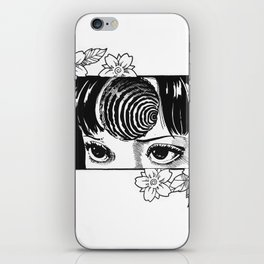 Junji Ito with cherry blossoms iPhone Skin