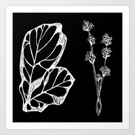 plant line artwork Art Print
