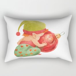 Elf's Factory Stories. Elf Baby Looks in The Glass Bauble Rectangular Pillow