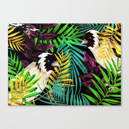Tropical birds and green leaves Canvas Print