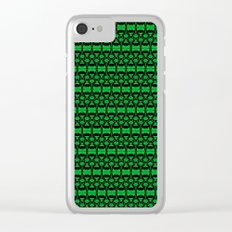 Dividers 02 in Green over Black Clear iPhone Case
