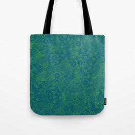 Clockwork Turquoise & Lime / Cogs and clockwork parts lineart pattern Tote Bag