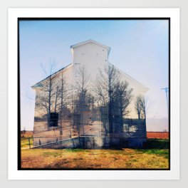 Church in Choctaw, Mississippi (Double Exposure) Art Print
