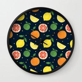 Modern navy blue orange yellow fruit polka dots Wall Clock