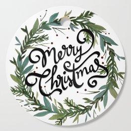 Merry Christmas Wreath Cutting Board
