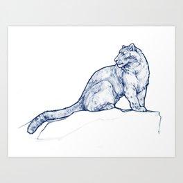 Snow Leopard, Blue Art Print