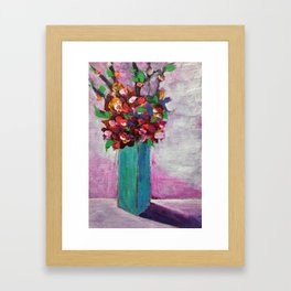 Teal vase Framed Art Print