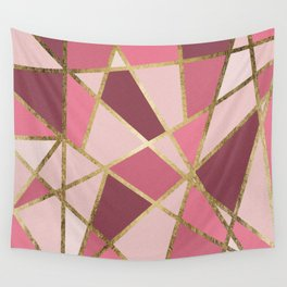 Girly Chic Pink & Burgundy Geo Gold Triangles Wall Tapestry