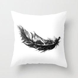 Feather- B&W // Illustration Throw Pillow