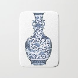 Blue & White Chinoiserie Porcelain Floral Vase with Flying Phoenix Bath Mat