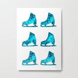 Watercolor Figure Skates (Aquamarine) Metal Print