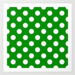 Islamic green - green - White Polka Dots - Pois Pattern Art Print
