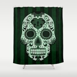 Día de los Muertos in Emerald Green Shower Curtain