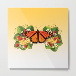 Monarch Butterfly with Strawberries Metal Print