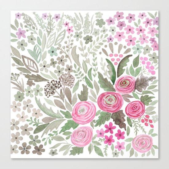 Watercolor .  Pink summer . Canvas Print
