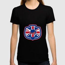 British Auto Repair Shop Union Jack Flag Crest T-shirt