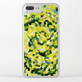 Yellow and Blue Crystallized Swirls Clear iPhone Case