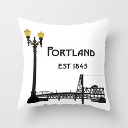 Historic Portland, Oregon by Seasons K Designs Throw Pillow