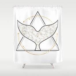 Whale Tail Geometric Golden Marble Shower Curtain