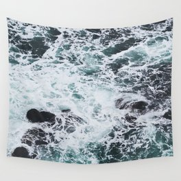 OCEAN - ROCKS - FOAM - SEA - PHOTOGRAPHY - NATURE Wall Tapestry