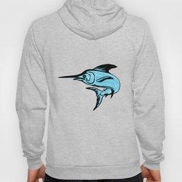 Blue Marlin Fish Jumping Drawing Hoody