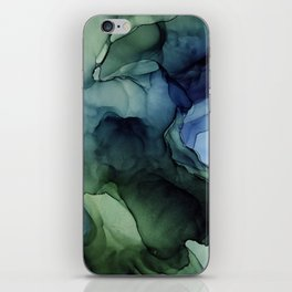 Blue Green Waves Abstract Ink Painting iPhone Skin