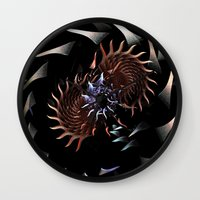 hydra Wall Clocks featuring Teeth of the Hydra by Brian Raggatt
