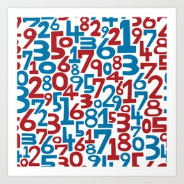 Red & blue numbers. Seamless pattern. Art Print