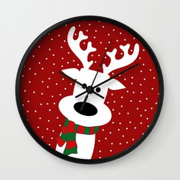 Reindeer in a snowy day (red) Wall Clock