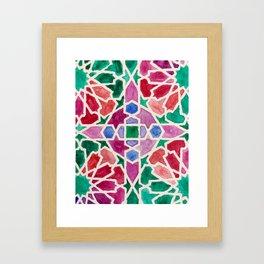 Moroccan Tiles - Forest Framed Art Print