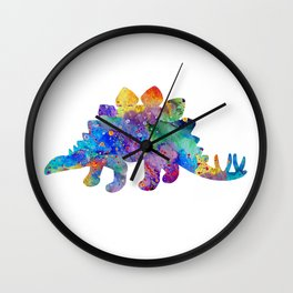 Stegosaurus Dinosaur Art Watercolor Pint Wild Animals Nursery Decor Kids Room Colorful Art Poster Wall Clock