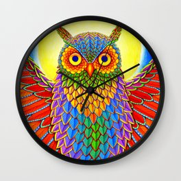 Colorful Rainbow Owl Wall Clock
