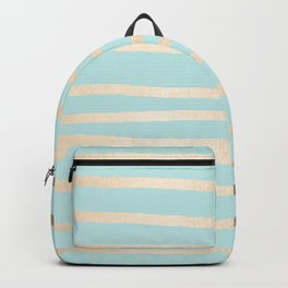 Simply Drawn Stripes White Gold Sands on Succulent Blue Backpack