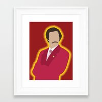 anchorman Framed Art Prints featuring Ron Burgundy: Anchorman by The Vector Studio