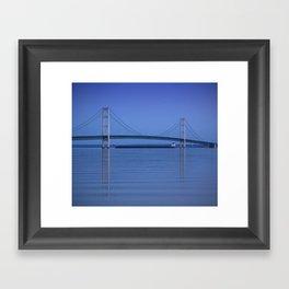 The Mackinac Bridge & the Great Lakes Freighter Framed Art Print
