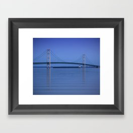 The Mackinac Bridge & the Great Lakes Freighter Framed Art Print