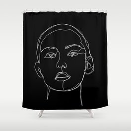 Face one line black and white illustration - Coco Shower Curtain