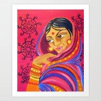 hindu Art Prints featuring Hindu Woman by IlyLilyArt
