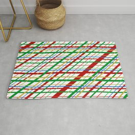 Bright and Cheerful Plaid in Red and Green Stripes Rug