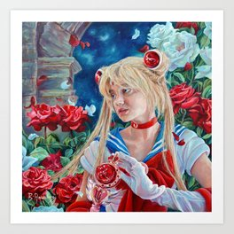 Sailor Moon: A Moonlight Romance, oil painting portrait of Usage with roses at Moon Kingdom Art Print