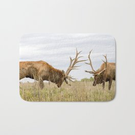 North American Wildlife - Bull Elk Facing Off Bath Mat