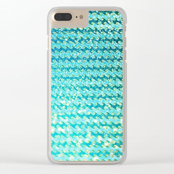 Mermaid Waves and Sea Foam, Sun Light over the Ocean Clear iPhone Case