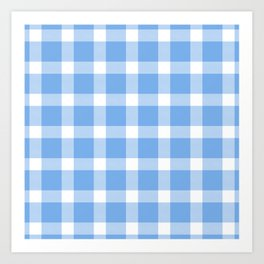 Plaid Sky Blue Art Print