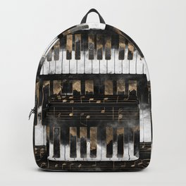 Piano keys and Notes - Watercolor and gold Backpack